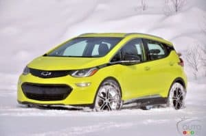 2019 Chevy Bolt in the Snow