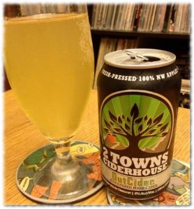 Can and Glass of 2 Towns OutCider Hard Cider
