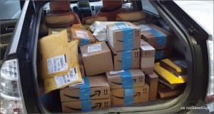 Amazon Packages Piled up in Back of Flex Driver Car