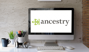 Ancestry.com Name and Logo on Computer Screen