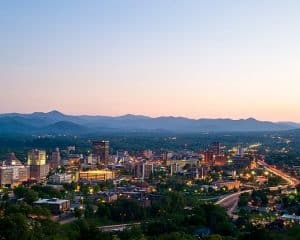 View of Asheville with Mountains Behind It