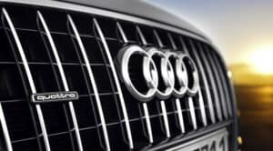 Audi Four-Rings Logo on Front of Vehicle