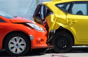 Red Car Smashed into Yellow Car