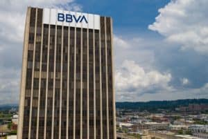 BBVA Name at Top of Large Building