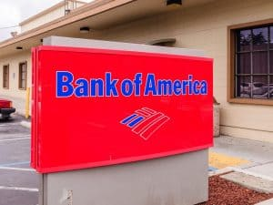 Bank of America Sign and Logo in Front of Branch