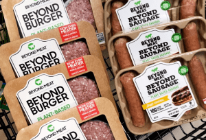 Array of Beyond Meat Products: Beyond Burger and Beyond Sausage