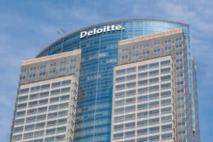 Big Building with Deloitte Name at Top