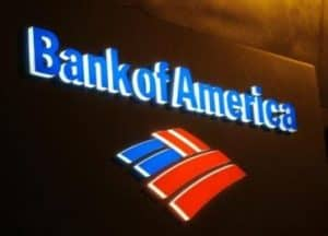 Bank of American Illuminated Sign at Night
