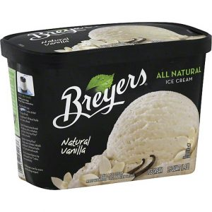 Carton of Breyers Natural Vanilla Ice Cream