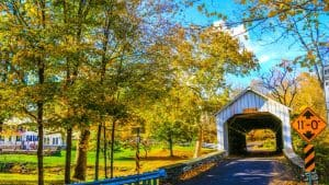 Covered Bridge and Fall Foliage in Bucks County, PA