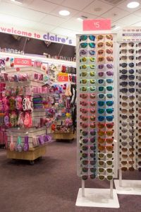 Merchandise at a Claire's Store
