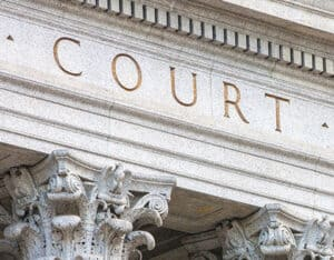 "Facade of Ornate Building with Word ""Court"""
