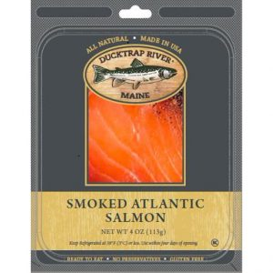 Package of Mowi Ducktrap Smoked Salmon