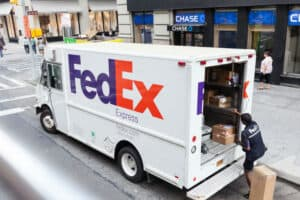 FedEx Truck with Driver at Open Back