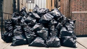 Garbage Bags Outside of Apartment Building