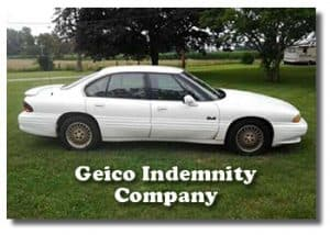 "Image of Car on Green Lawn with Words ""Geico Indemnity Company"""