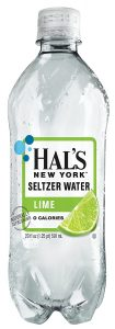 Bottle of Hal's Lime Seltzer