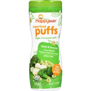 Container of Happy Baby Apple Broccoli Puffs