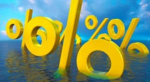 Percentage Signs Sinking in Water