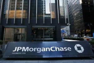 JPMorgan Chase Name and Logo in Front of Large Building