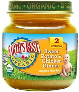 Jar of Earth's Best Sweet Potato & Chicken Dinner