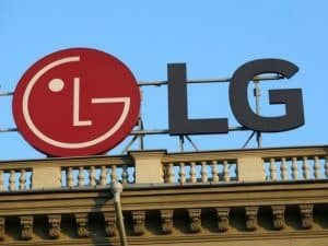 LG Logo Sign on Top of Building