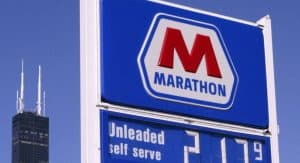 Gas Station Sign with Marathon Logo