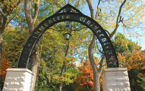 Arch and Fall Foliage at Northwestern Campus