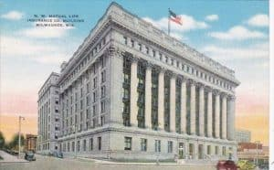 Hand-Colored Postcard of Northwestern Mutual's Milwaukee, Wisconsin Building