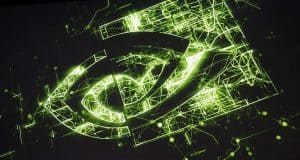 Nvidia Logo Drawn in Green Lights