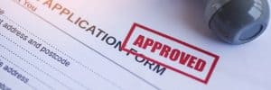 """Application Stamped """"Approved"""""""