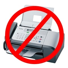 Fax Machine in Red Circle with Strikethrough