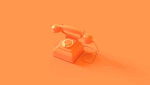 Orange Telephone on Orange Background