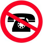 Old-Fashioned Telephone in Circle with Strikethrough