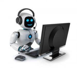 Robot with Headphones at a Desktop Computer