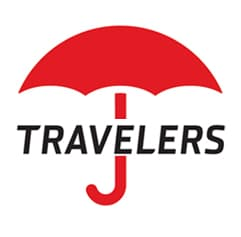 Travelers Name with Red Umbrella Logo