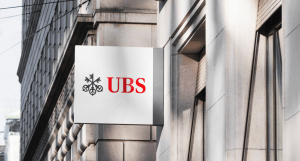 UBS and Three-Key Logo Sign on Building