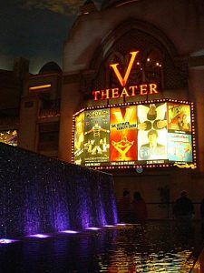 V Theater Sign and Ads in Las Vegas