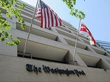 Washington Post Building with Flags Flying