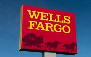 Wells Fargo Sign with Stagecoach Logo