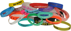 Colorful Pile of Silicone Wristbands