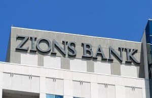 """Name """"Zions Bank"""" on Building, One of Zions Bancorporation's Institutions"""