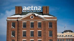 Aetna Sign on Top of Brick Building