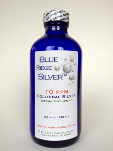 Bottle of Blue Ridge Silver Colloidal Silver Product