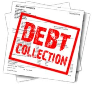 """Red Stamp on Papers Saying """"Debt Collection"""""""
