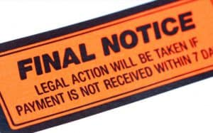 "Sticker Saying, ""Final Notice"""