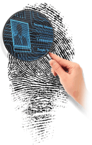 Examination of Fingerprint with Magnifying Glass