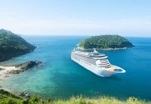 Grand Caribbean Cruise Ship in Turquoise Waters