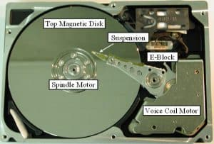 Hard Disk Drive Suspension Assembly in Position Over Hard Disk