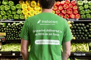 Back of Worker in Instacart T-Shirt